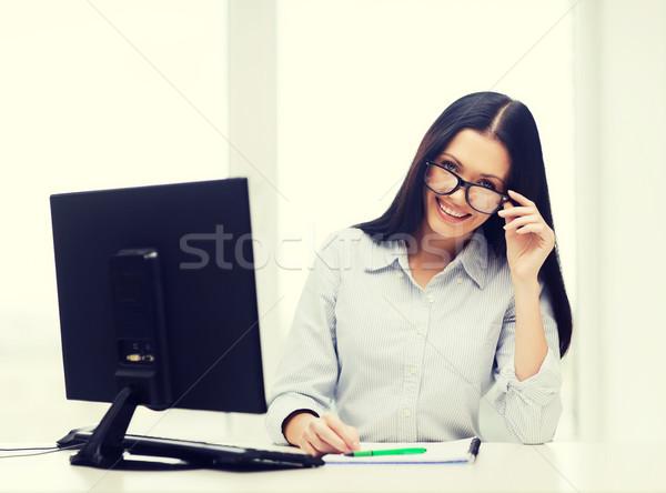 Sonriendo mujer de negocios estudiante educación escuela Foto stock © dolgachov