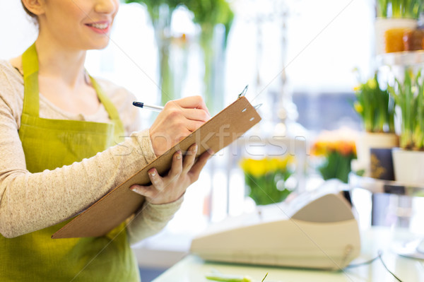 Mujer portapapeles personas venta Foto stock © dolgachov