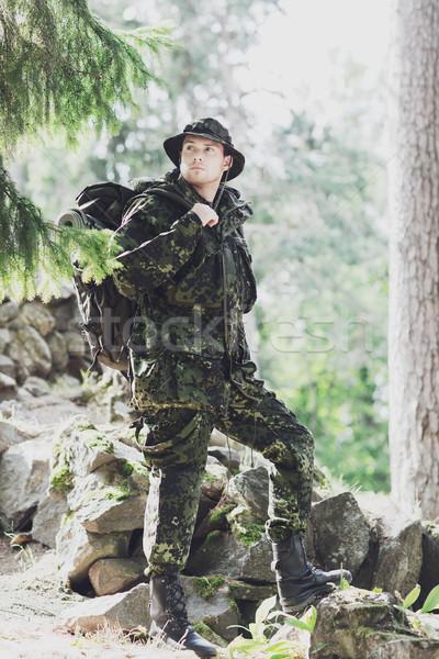 小さな 兵士 リュックサック 森林 戦争 ハイキング ストックフォト © dolgachov
