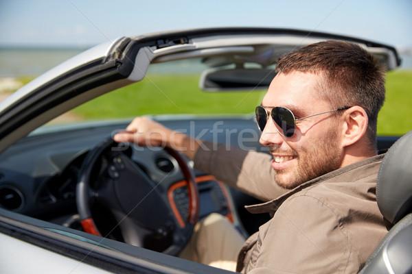 Mutlu adam sürücü kabriyole araba açık havada Stok fotoğraf © dolgachov