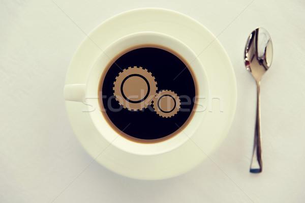 Fincan kahve dişli simge kaşık içecekler Stok fotoğraf © dolgachov