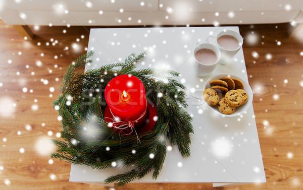 Zdjęcia stock: Christmas · wieniec · Świeca · tabeli · wakacje
