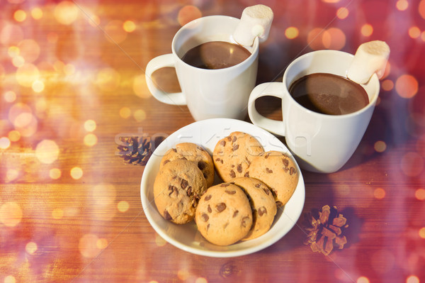 Chocolat chaud guimauve cookies vacances Noël Photo stock © dolgachov