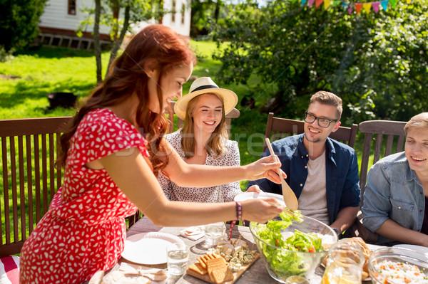 Stockfoto: Gelukkig · vrienden · diner · zomer · tuinfeest · recreatie