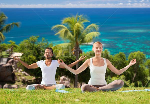 Stok fotoğraf: Mutlu · çift · yoga · meditasyon · açık · havada · uygunluk