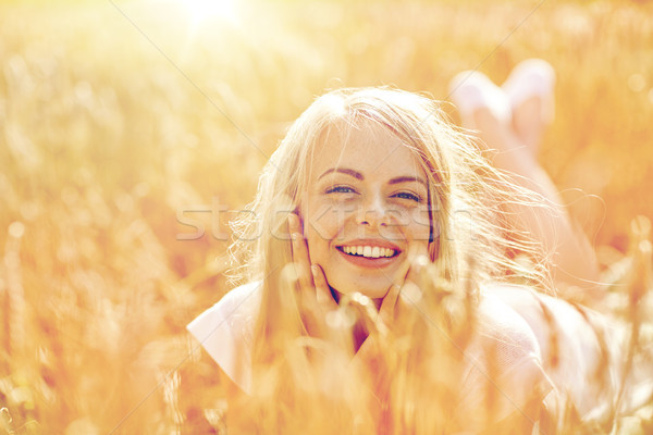 Feliz mujer muchacha adolescente cereales campo naturaleza Foto stock © dolgachov