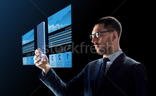 Biznesmen wymiany wykresy działalności rzeczywistość Zdjęcia stock © dolgachov