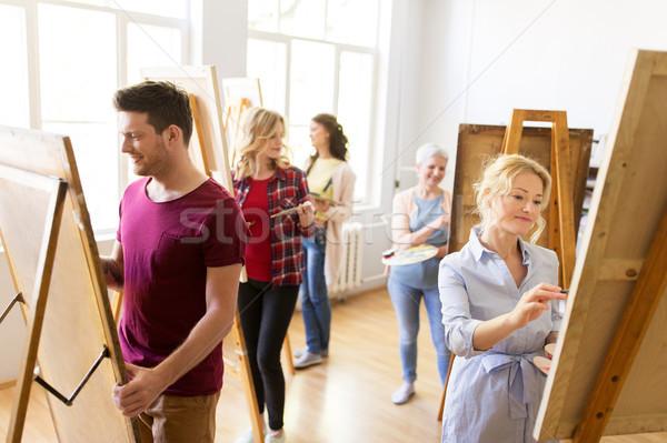 Живопись искусства школы креативность образование люди Сток-фото © dolgachov