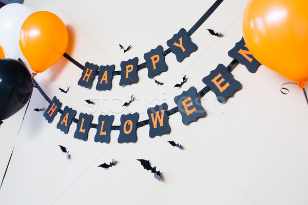 Boldog halloween buli fekete papír girland Stock fotó © dolgachov