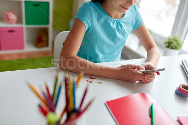 girl with smartphone messaging at home Stock photo © dolgachov