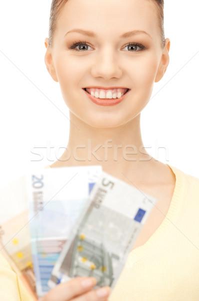 Stock fotó: Nő · Euro · pénz · pénz · kép · üzlet