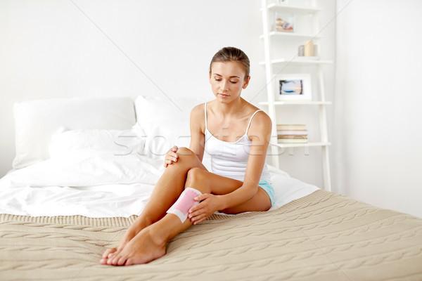Nő láb haj viasz szépség epiláció Stock fotó © dolgachov