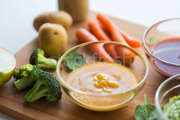vegetable puree or baby food in glass bowl Stock photo © dolgachov