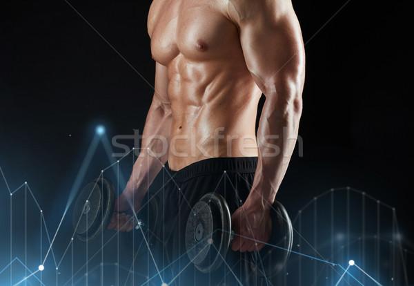 Stok fotoğraf: Adam · dambıl · egzersiz · spor · vücut · geliştirme