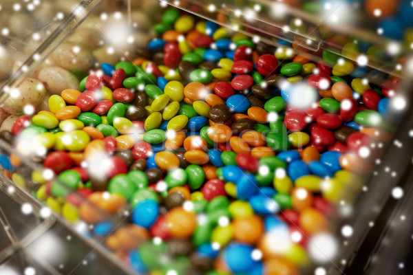 close up of multicolored dragee candies in box Stock photo © dolgachov