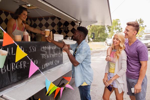 Szczęśliwy klientela kolejka żywności ciężarówka ulicy Zdjęcia stock © dolgachov