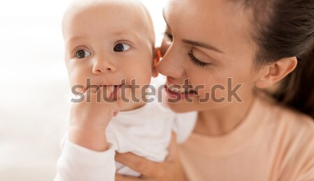 happy mother with little baby boy at home Stock photo © dolgachov