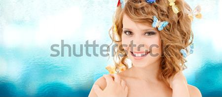 lovely fairy in crown with magic wand Stock photo © dolgachov
