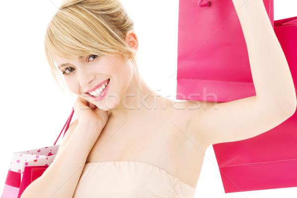 買い物客 幸せ 十代の少女 ピンク ショッピングバッグ 少女 ストックフォト © dolgachov