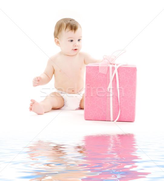 Baba fiú pelenka nagy ajándék doboz kép Stock fotó © dolgachov