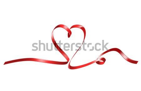 Kırmızı kalp şerit parlak resim Stok fotoğraf © dolgachov