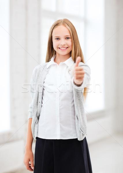 Diák lány iskola oktatás kicsi mutat Stock fotó © dolgachov