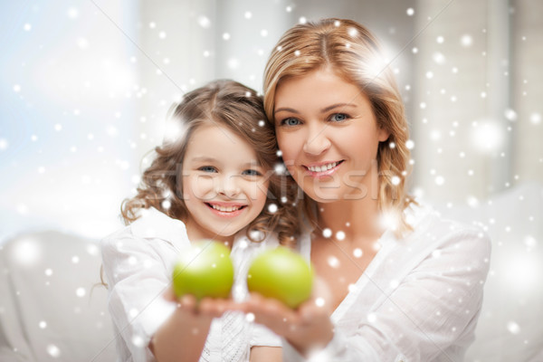 mother and daughter holding green apples Stock photo © dolgachov