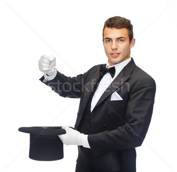 Bűvész felső kalap mutat trükk mágikus Stock fotó © dolgachov