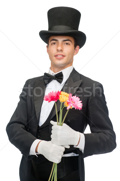magician with flowers Stock photo © dolgachov