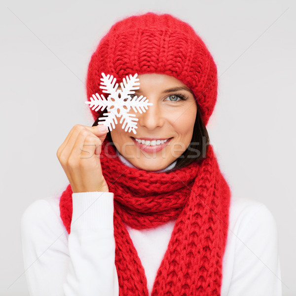 smiling young woman in winter clothes Stock photo © dolgachov