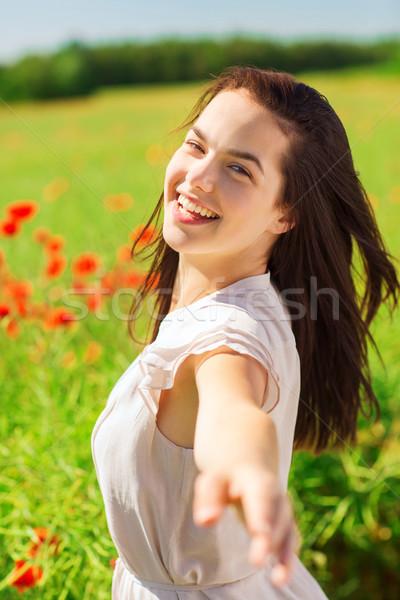 Foto stock: Risonho · mulher · jovem · papoula · campo · felicidade · natureza