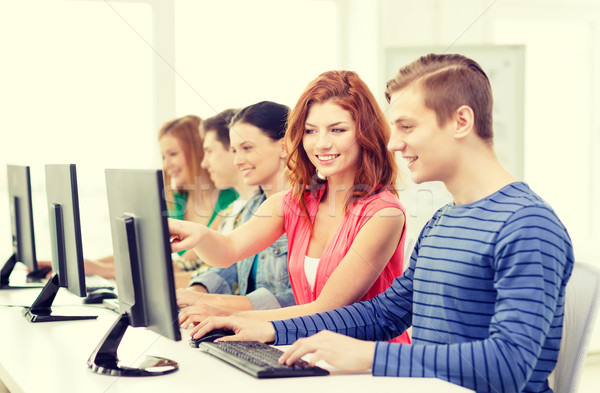 Kadın öğrenci sınıf arkadaşları bilgisayar sınıf eğitim Stok fotoğraf © dolgachov