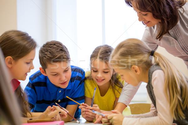 Zdjęcia stock: Grupy · szkoły · dzieci · piśmie · test · klasie