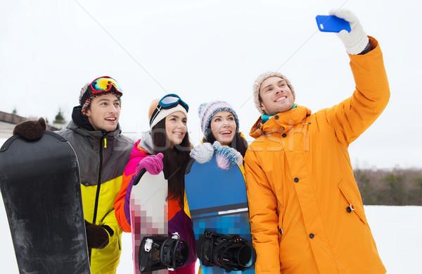 Mutlu arkadaşlar kış sporları boş dostluk Stok fotoğraf © dolgachov