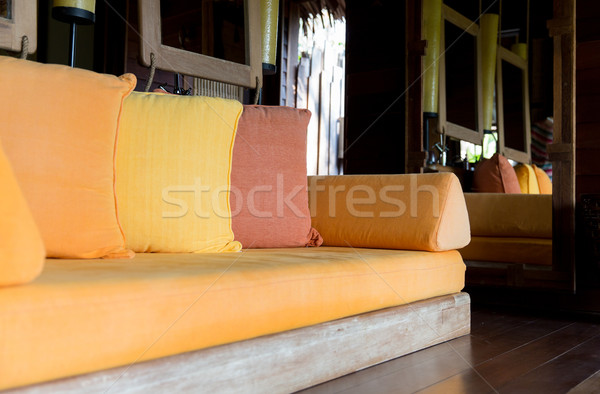 couch with pillows at hotel room or home Stock photo © dolgachov