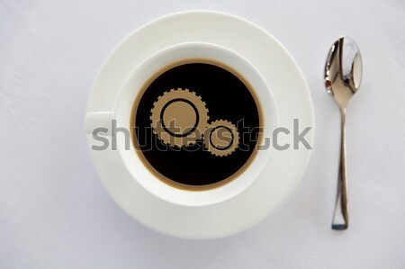 Кубок черный кофе текста пузыря ложку напитки Сток-фото © dolgachov