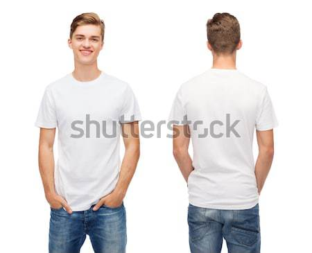 smiling young man in blank white t-shirt Stock photo © dolgachov