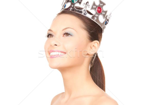 Mulher coroa quadro branco feliz modelo Foto stock © dolgachov