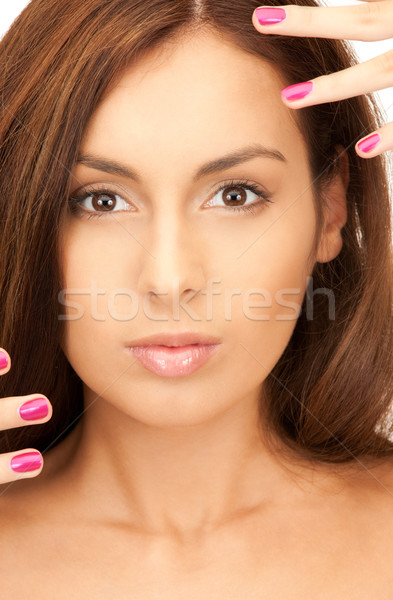 lovely woman with polished nails  Stock photo © dolgachov
