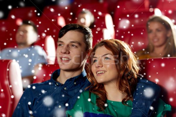 Boldog pár néz film színház mozi Stock fotó © dolgachov