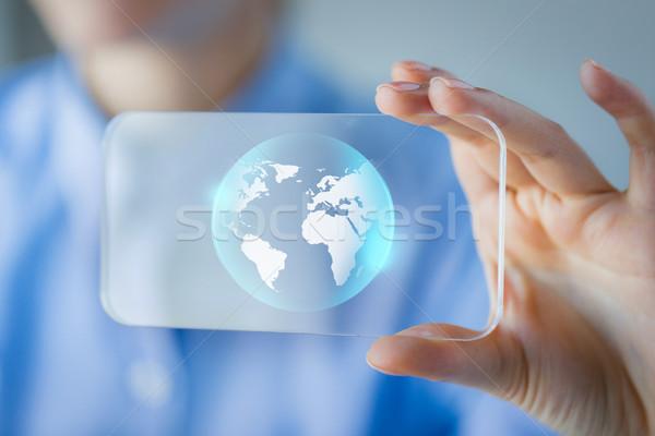 Mujer transparente negocios tecnología Foto stock © dolgachov