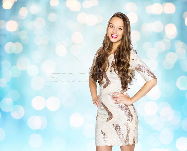 幸せ 若い女性 十代の少女 青 ライト 人 ストックフォト © dolgachov