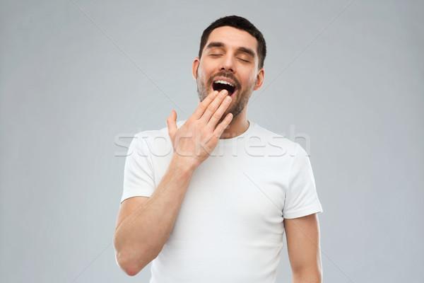 Homme gris personnes fatigué main Photo stock © dolgachov