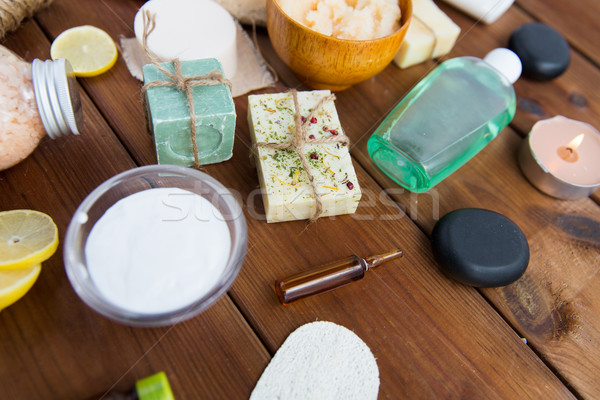 close up of body care cosmetic products on wood Stock photo © dolgachov