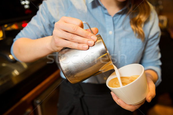 close up of woman making coffee at shop or cafe Stock photo © dolgachov