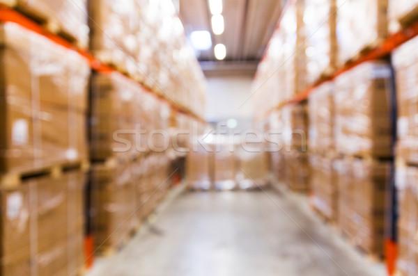 cargo boxes storing at warehouse shelves bokeh Stock photo © dolgachov