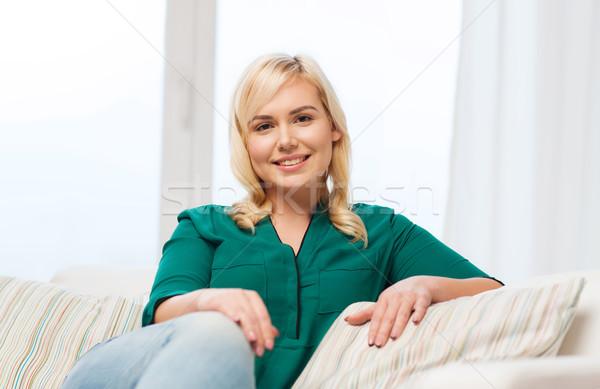 幸せ 若い女性 ホーム 人 レジャー 座って ストックフォト © dolgachov