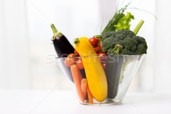 close up of ripe vegetables in glass bowl on table Stock photo © dolgachov
