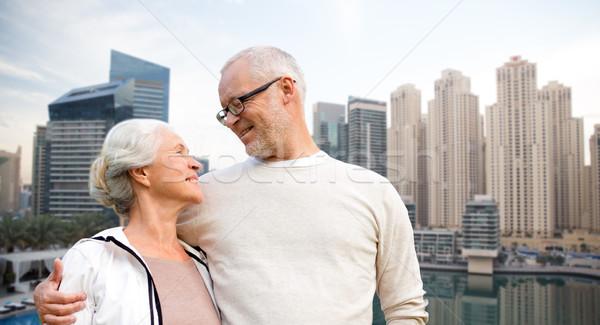 Couple de personnes âgées Dubaï ville bord de l'eau famille Photo stock © dolgachov