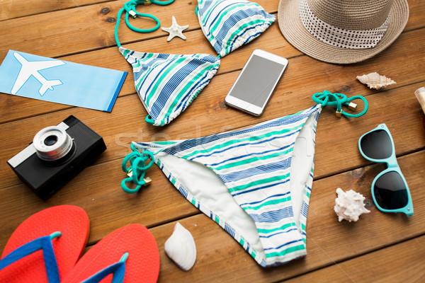 Smartphone strand vakantie reizen toerisme Stockfoto © dolgachov